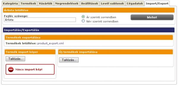 Webáruház - termék import, export